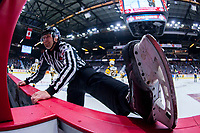 REGINA, SK - MAY 18: Linesman Chad Huseby at the Brandt Centre on May 18, 2018 in Regina, Canada. (Photo by Marissa Baecker/Shoot the Breeze)