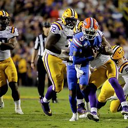 Oct 12, 2019; Baton Rouge, LA, USA; Florida Gators quarterback Emory Jones (5) runs against the LSU Tigers during the first half at Tiger Stadium. Mandatory Credit: Derick E. Hingle-USA TODAY Sports