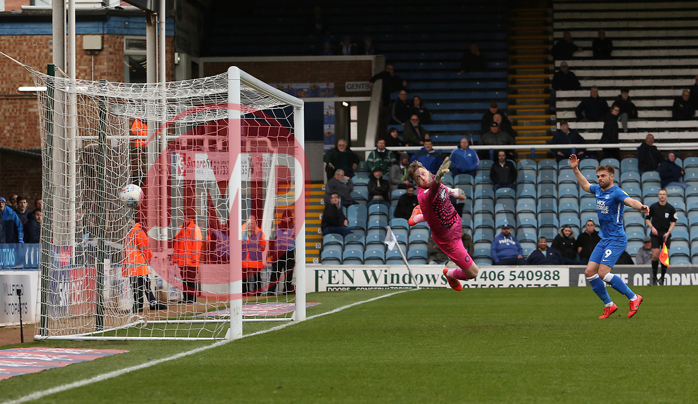 Ryan Allsop of Wycombe Wanderers cant prevent Marcus Maddison of Peterborough United (not in picture) from scoring his sides third goal of the game - Mandatory by-line: Joe Dent/JMP - 02/03/2019 - FOOTBALL - ABAX Stadium - Peterborough, England - Peterborough United v Wycombe Wanderers - Sky Bet League One