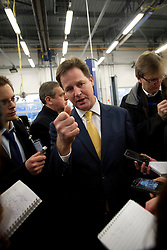 © London News Pictures. 11/02/2013 . Eastleigh, UK.  Leader of the Liberal Democrat Party, NICK CLEGG speaking to reporters during a visit to Eastleigh College in Eastleigh, Hampshire with the Liberal Democrat part candidate for the Eastleigh by-election MIKE THORNTON, on February 11, 2013. The by-election was called when the former MP for Eastleigh, Chris Hune, resigned after admitting perverting the course of justice. Photo credit : Ben Cawthra/LNP