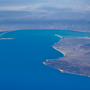 Aerial view of Baja California Norte from airplane window. BCN. Mexico.