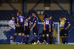 Bristol Rovers' Ollie Clarke receives treatment - Photo mandatory by-line: Dougie Allward/JMP - Mobile: 07966 386802 01/04/2014 - SPORT - FOOTBALL - Bury - Gigg Lane - Bury v Bristol Rovers - Sky Bet League Two
