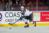 KELOWNA, CANADA - JANUARY 19: Nolan Foote #29 of the Kelowna Rockets skates with the puck against the Prince Albert Raiders on January 19, 2019 at Prospera Place in Kelowna, British Columbia, Canada.  (Photo by Marissa Baecker/Shoot the Breeze)