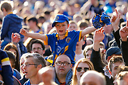 Shrewsbury Town fans celebrate victory during the EFL Sky Bet League 1 Play Off second leg match between Shrewsbury Town and Charlton Athletic at Greenhous Meadow, Shrewsbury, England on 13 May 2018. Picture by Simon Davies.