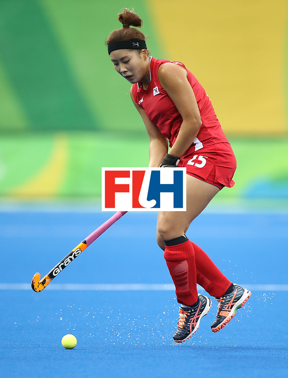RIO DE JANEIRO, BRAZIL - AUGUST 10:  Kiju Park of Korea in action during the Women's Pool B Match between Germany and Korea on Day 5 of the Rio 2016 Olympic Games at the Olympic Hockey Centre on August 10, 2016 in Rio de Janeiro, Brazil.  (Photo by Mark Kolbe/Getty Images)