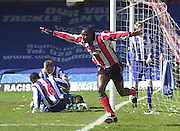 .Photo Peter Spurrier.06/04/2002.Nationwide Div 2.Brentford vs Huddersfield - Griffen Park:.Lloyd Owusu, celbrates his first goal...