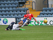 Dundee's James McPake sends Wigan's Tim Chow flying - Dundee v Wigan Athletic - pre season friendly at Dens Park<br /> <br />  - &copy; David Young - www.davidyoungphoto.co.uk - email: davidyoungphoto@gmail.com