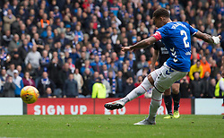 Rangers James Tavernier scores his side's third goal of the game during the Ladbrokes Scottish Premiership match at Ibrox, Glasgow.