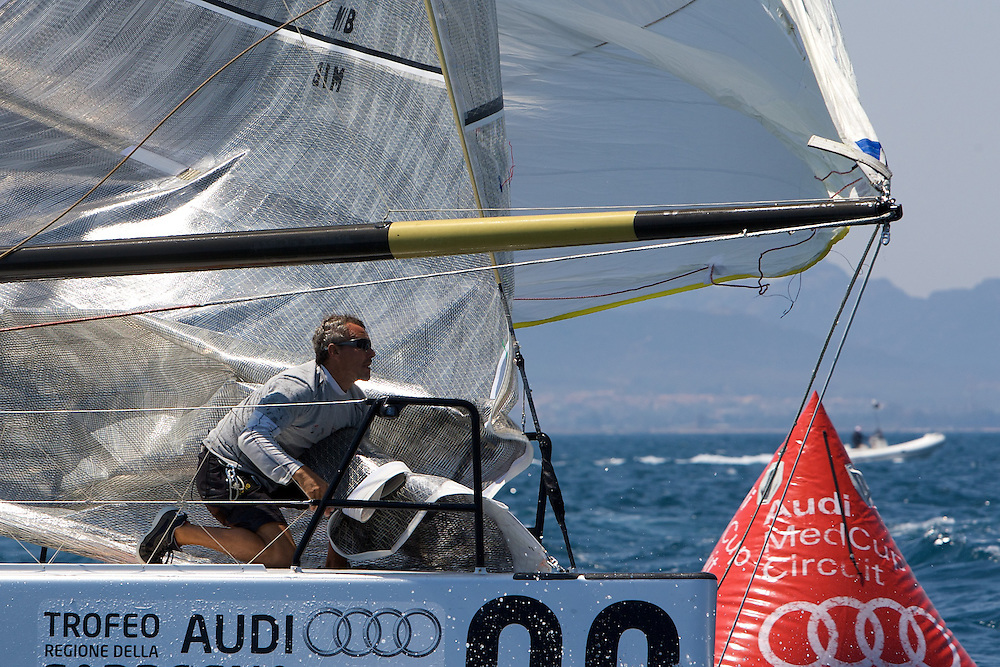 Audi TP52 Powered by Q8 prepare to set the Spinnaker during the Practice race of the AUDI Medcup in Cagliari