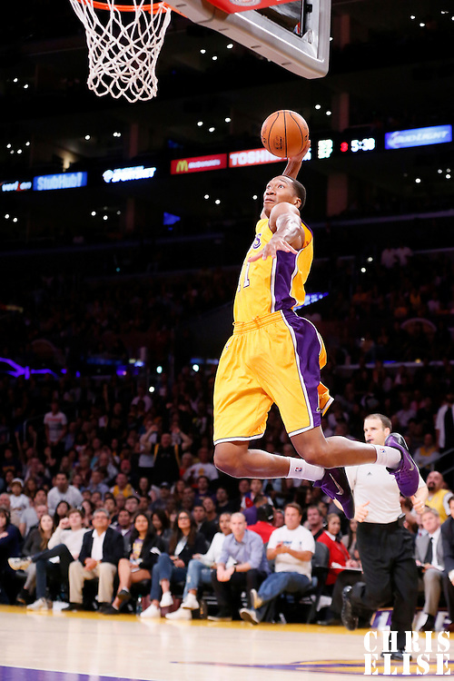 19 October 2014: Los Angeles Lakers forward Wesley Johnson (11) goes for the dunk during the Los Angeles Lakers 98-91 victory over the Utah Jazz, in a preseason game, at the Staples Center, Los Angeles, California, USA.