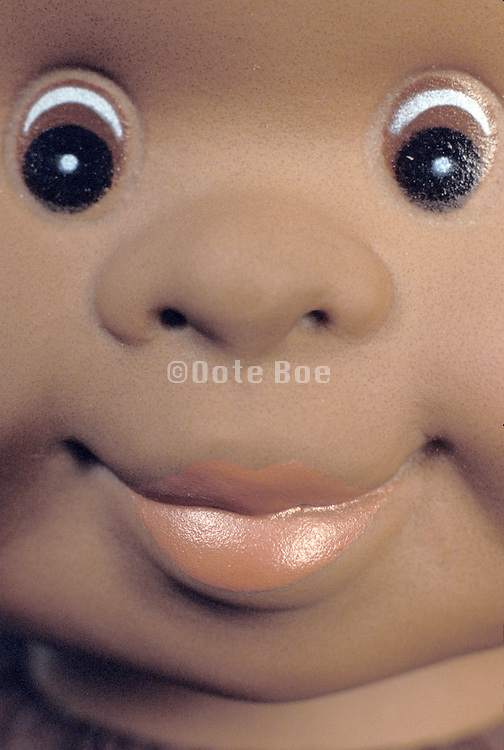 close-up of doll face