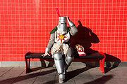 UNITED KINGDOM, London: 27 October 2017 Annabelle Parkins, dressed as a character from Dark Souls takes a rest during the MCM London Comic Con. The convention, which runs all this weekend at the Excel Centre, will see thousands of cosplay and comic book fans visit the venue. Rick Findler / Story Picture Agency