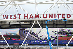 West Ham United Football Club's lettering is re installed on 23rd August 2017 on the front of their home ground - the London Stadium at Queen Elizabeth Olympic Park,Stratford after they were taken down while the IAAF World Championships 2017 was being held there. (Photo by Claire Doherty)