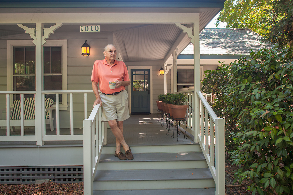 Retired wine maker Robert Pecota on the porch of his house on Cedar Street in Calistoga