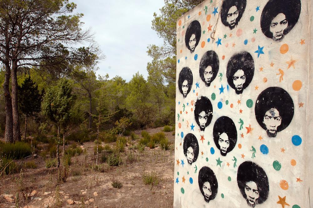 Spanien Ibiza Herbst Oktober Graffity Wald Urlaub Tourismus Insel Balearen Europa [Farbtechnik sRGB 34.49 MByte vorhanden]  Geography / Travel Europa Spanien Ibiza