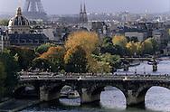 """France. Paris. elevated view. The Eiffel tower, the Institut de France, the Seine river bridges; the pont neuf, view from the """"gloriettes"""" on the theatre de la ville"""