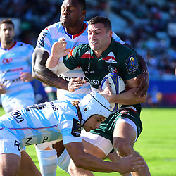 (R-L)  Jonny May of Leicester is tackled by Patrick Lambie of Racing 92 during the European Rugby Champions Cup match between Racing 92 and Leicester Tigers on October 14, 2017 in Colombes, France. (Photo by Dave Winter/Icon Sport)