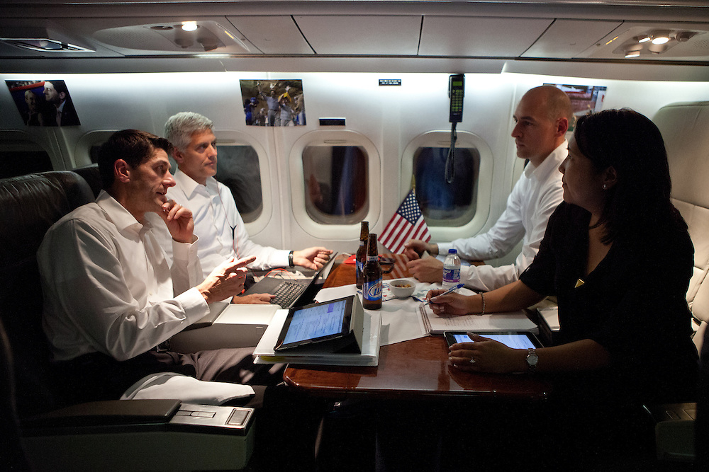 From left, Republican vice presidential nominee Rep. Paul Ryan meets with his brother Tobin Ryan, Andy Speth, and Joyce Meyer on his campaign plane near Colorado Springs, CO, September 5, 2012.