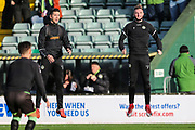 Forest Green Rovers Lloyd James(4) and Forest Green Rovers Carl Winchester(7) warming up during the EFL Sky Bet League 2 match between Yeovil Town and Forest Green Rovers at Huish Park, Yeovil, England on 8 December 2018.