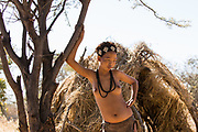 Young topless teen of the San Tribe, Namibia