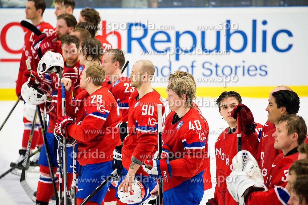 Daniel Sorvik of Norway, Ken Andre Olimb of Norway after the Ice Hockey match between Russia and Norway at Day 1 in Group B of 2015 IIHF World Championship, on May 1, 2015 in CEZ Arena, Ostrava, Czech Republic. Photo by Vid Ponikvar / Sportida