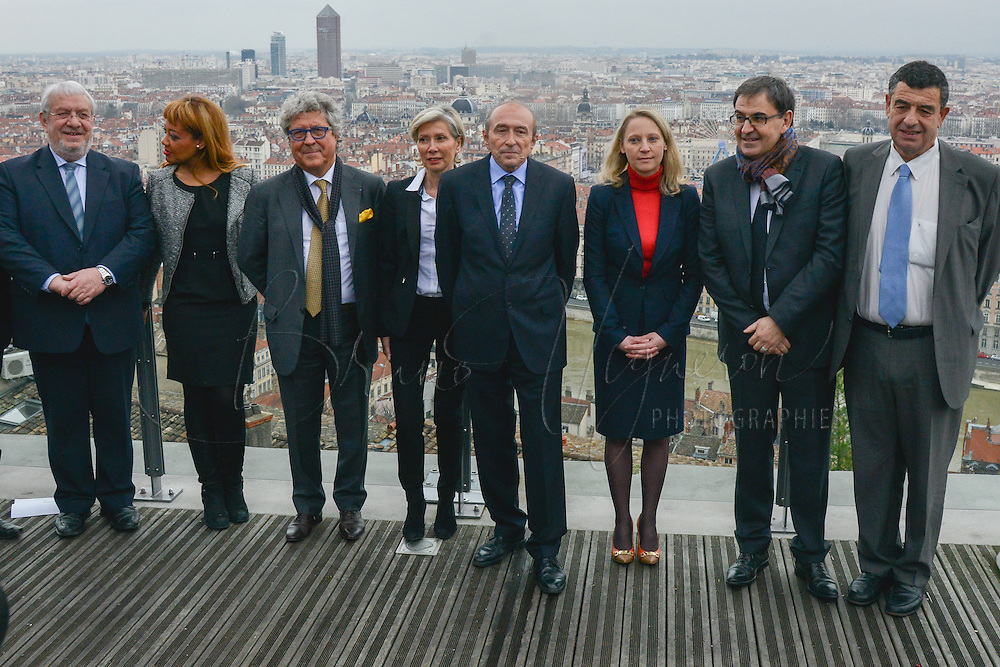 Christian Coulon,  Odile Belinga, Roland Bernard, Myriam Picot, Gerard Collomb, Elvire Servien, David Kimelfeld and Thierry Philip attend the Press Conference for The March 2014 Mayoral Elections