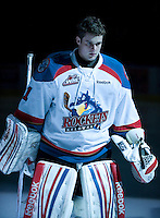 KELOWNA, CANADA, DECEMBER 27:  Adam Brown #1 of the Kelowna Rockets stands in the starting line up as the Spokane Chiefs visit the Kelowna Rockets on December 7, 2011 at Prospera Place in Kelowna, British Columbia, Canada (Photo by Marissa Baecker/Getty Images) *** Local Caption ***
