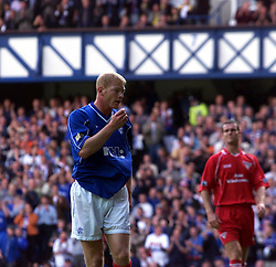 Jorge Albertz celebrates after scoring their first goal, during a Rangers v Dunfermline game in August 2000..