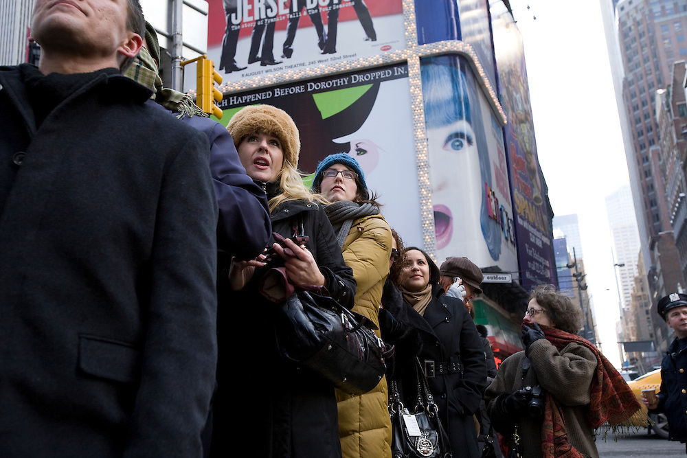 New York, New York - Spectators watch the 2009 presidential inauguration in Times Square, New York City on January 20th, 2009