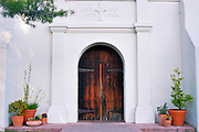 The entrance to the mission church, Mission Santa Cruz (12th Mission-founded 1791), California