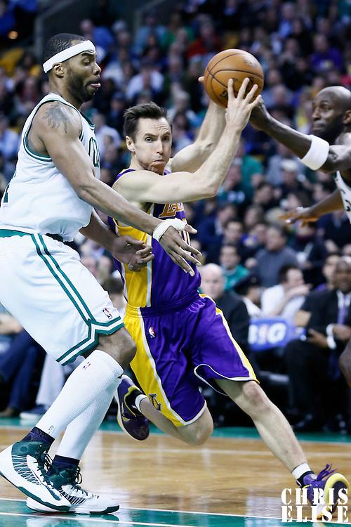 07 February 2013: Los Angeles Lakers point guard Steve Nash (10) drives past Boston Celtics power forward Chris Wilcox (44) during the Boston Celtics 116-95 victory over the Los Angeles Lakers at the TD Garden, Boston, Massachusetts, USA.