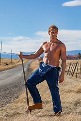 hot shirtless farmer outdoors
