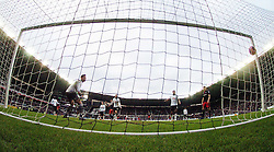 Derby Keeper Kelle Roos, is glued to the spot and cant keep out Reading  First Goal by Hal Robson-Kanu, Derby County v Reading, FA Cup 5th Round, The Ipro Stadium, Saturday 14th Febuary 2015