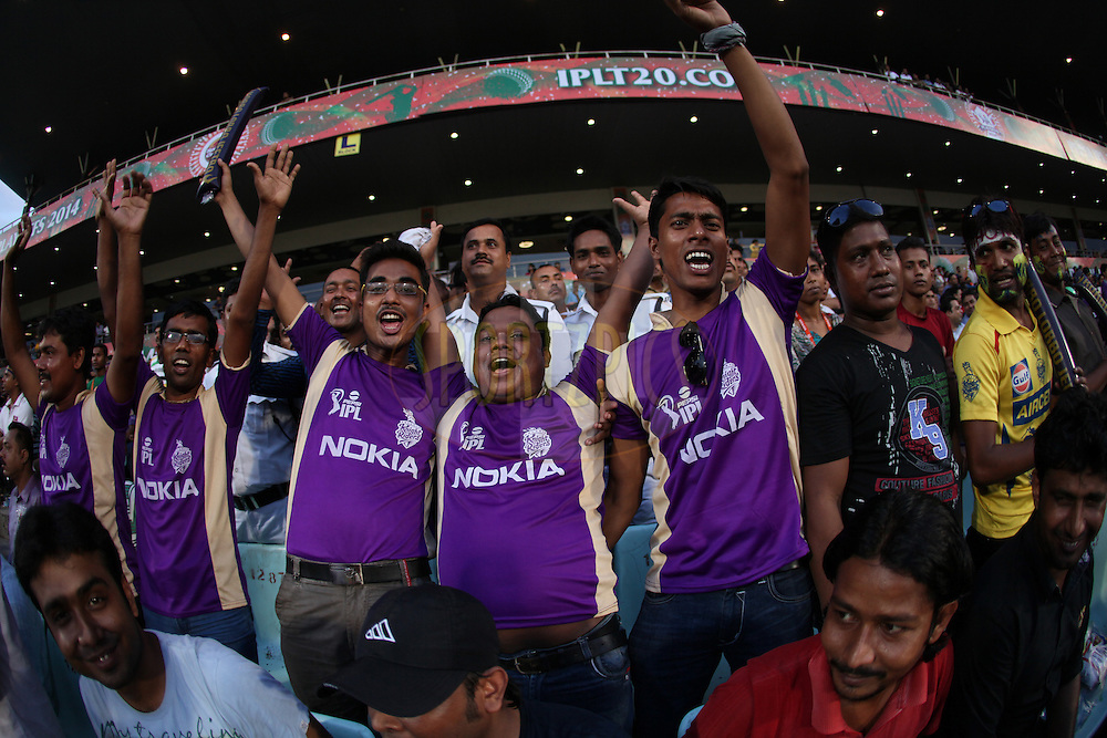Fans during the first qualifier match (QF1) of the Pepsi Indian Premier League Season 2014 between the Kings XI Punjab and the Kolkata Knight Riders held at the Eden Gardens Cricket Stadium, Kolkata, India on the 28th May  2014<br /> <br /> Photo by Saikat Das / IPL / SPORTZPICS<br /> <br /> <br /> <br /> Image use subject to terms and conditions which can be found here:  http://sportzpics.photoshelter.com/gallery/Pepsi-IPL-Image-terms-and-conditions/G00004VW1IVJ.gB0/C0000TScjhBM6ikg