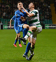 05/11/15 UEFA EUROPA LEAGUE GROUP STAGE<br /> CELTIC v MOLDE FK<br /> CELTIC PARK - GLASGOW<br /> Celtic's Kieran Tierney (right) battles with Martin Linnes