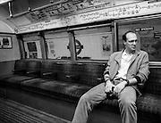 Man on Tube, Waterloo, London, UK, 1980s.