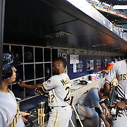 NEW YORK, NEW YORK - June 16: Gregory Polanco #25 of the Pittsburgh Pirates heads out of the dugout to bat during the Pittsburgh Pirates Vs New York Mets regular season MLB game at Citi Field on June 16, 2016 in New York City. (Photo by Tim Clayton/Corbis via Getty Images)