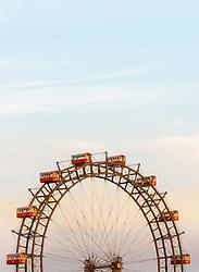 THEMENBILD - Das Wiener Riesenrad ist ein 64.75 Meter großes Riesenrad am Eingang zum Freizeitpark Prater in Leopoldstadt, dem 2. Bezirk von Österreichs Hauptstadt Wien. Es ist eines der populärsten Touristenziele in Wien und ist eines der Wahrzeichen der Stadt. Es wurde 1897 gebaut und war von 1920 bis 1965 das größte Riesenrad der Welt, im Bild das Riesenrad. Aufgenommen am 12. Juni 2017 vom Bahnhof Praterstern // The Wiener Riesenrad (German for Vienna Giant Wheel) is a 64.75-metre tall Ferris wheel at the entrance of the Prater amusement park in Leopoldstadt, the 2nd district of Austria's capital Vienna. It is one of Vienna's most popular tourist attractions, and symbolises the district as well as the city for many people. Constructed in 1897, it was the world's tallest extant Ferris wheel from 1920 until 1985, This picture was taken from the railway station Praterstern and shows the Riesenrad, Vienna, Austria on 2017/06/12. EXPA Pictures © 2017, PhotoCredit: EXPA/ Sebastian Pucher