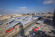Vienna's new Hauptbahnhof (Main Railway Station) opening days.<br /> View from BAHNORAMA, an exhibition about Vienna's new Central Railway Station developed by RAHM architects. It features a 66 meters high wooden tower offering a superb view over the nearby giant construction site until the end of 2014..