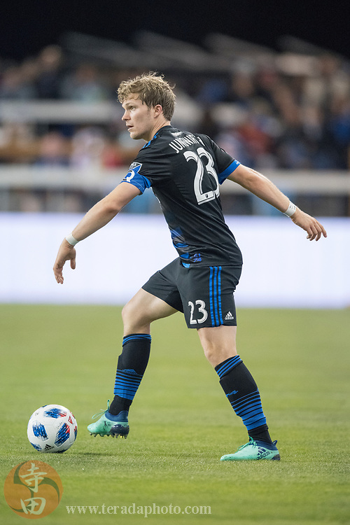 May 19, 2018; San Jose, CA, USA; San Jose Earthquakes midfielder Florian Jungwirth (23) during the second half against D.C. United at Avaya Stadium. D.C. United defeated the Earthquakes 3-1.