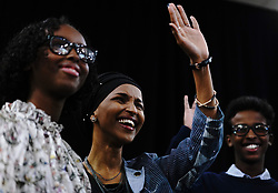 Ilhan Omar, flanked by family, delivers her victory speech after becoming the first Somali-American elected to Congress, representing Minnesota's Fifth District, at her election night headquarters in Minneapolis on Tuesday, November 6, 2018. Photo by Mark Vancleave/Minneapolis Star Tribune/TNS/ABACAPRESS.COM
