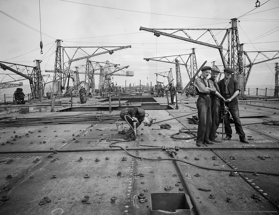 Workers Riveting, Cunard Lines, England, 1934