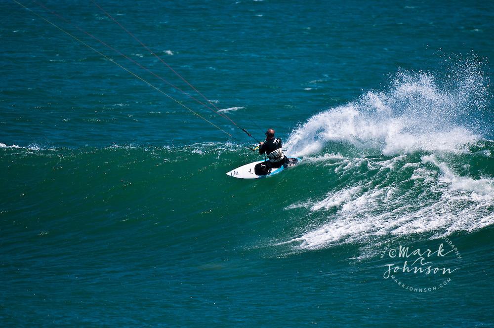 Kitesurfing action, Punto San Carlos, Baja California, Mexico