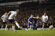 Andros Townsend of Tottenham Hotspur scores his sides third goal to make the scoreline 3-1 during the Barclays Premier League match between Tottenham Hotspur and Chelsea  at White Hart Lane, London<br /> Picture by Richard Blaxall/Focus Images Ltd +44 7853 364624<br /> 01/01/2015