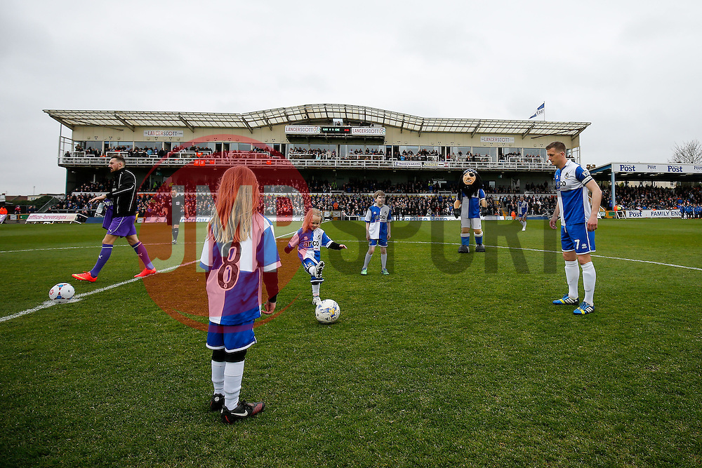 The mascots warm up with Lee Mansell of Bristol Rovers - Photo mandatory by-line: Rogan Thomson/JMP - 07966 386802 - 03/04/2015 - SPORT - FOOTBALL - Bristol, England - Memorial Stadium - Bristol Rovers v Chester - Vanarama Conference Premier.