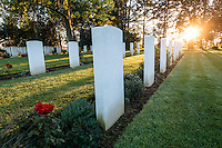 White grave markers at Beny-sur-Mer Canadian War Cemetery, set in closeley trimmed green grass, with setting sun breaking through trees in the background. Most graves contain the remains of Canadian soldiers who fell during the D-Day assault at nearby Juno Beach June 6 1944, during World War 2, and the subsequent Battle of Caen in July of 1944.