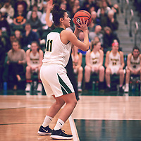 2nd year guard, Carolina Goncalves (11) of the Regina Cougars during the Women's Basketball Home Game on Fri Feb 01 at Centre for Kinesiology,Health and Sport. Credit: Arthur Ward/Arthur Images