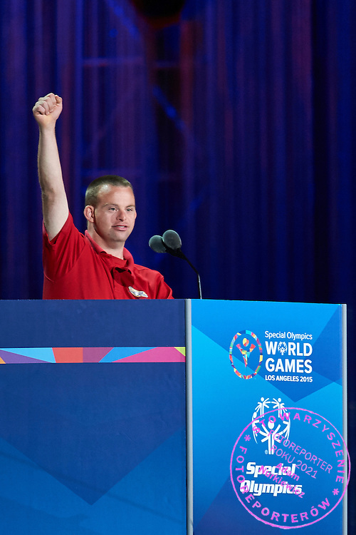 Tim Harris Special Olympics Global Messenger speaks during opening ceremony of the Special Olympics World Games Los Angeles 2015 at the Los Angeles Coliseum Stadium on July 25, 2015 in Los Angeles, USA.<br /> USA, Los Angeles, July 25, 2015<br /> <br /> Picture also available in RAW (NEF) or TIFF format on special request.<br /> <br /> For editorial use only. Any commercial or promotional use requires permission.<br /> <br /> Adam Nurkiewicz declares that he has no rights to the image of people at the photographs of his authorship.<br /> <br /> Mandatory credit:<br /> Photo by &copy; Adam Nurkiewicz / Mediasport