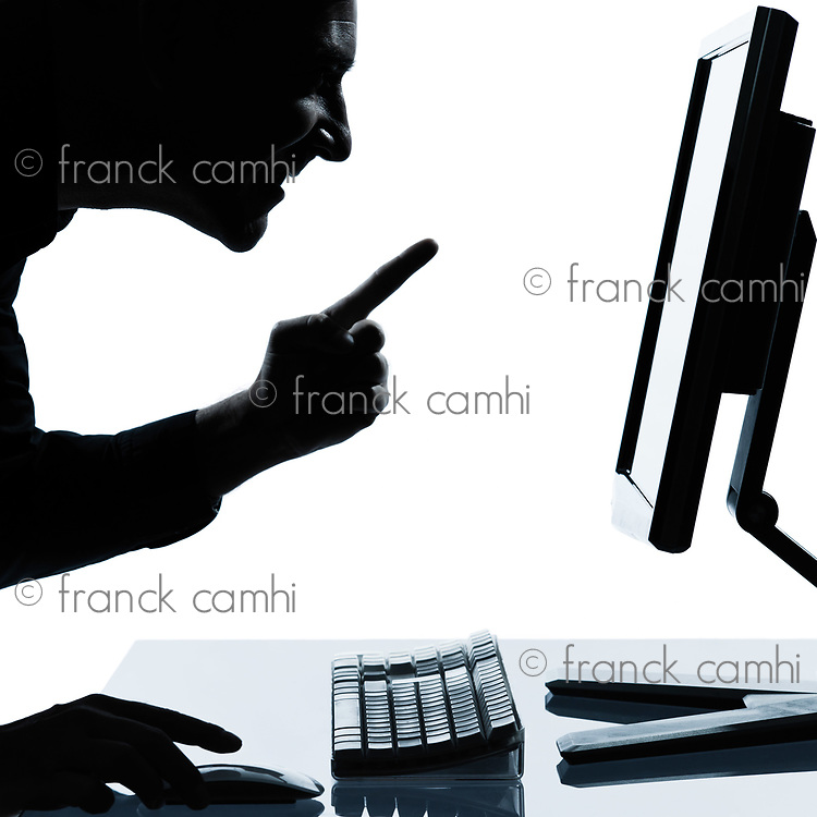 one caucasian business man computing computer  happy success portrait silhouette in studio isolated on white background