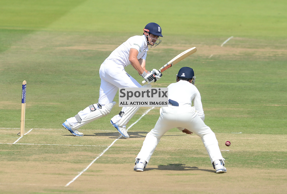 Aistair Cook gets off the mark in his short innings, Investec second test, Eng v Ind, 18 July 2014, (c) Simon Kimber | SportPix.org.uk